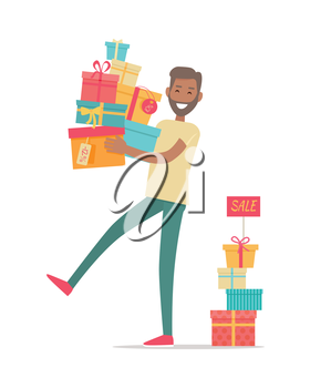 Buying gifts on sale. Smiling man standing with presents in color boxes with discounts percents on tags flat style vector isolated on white background. Holiday shopping in supermarket. For store ad