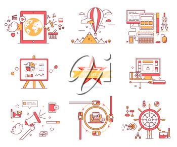 Set of web icons in flat style. E-commerce. Travelling on balloon, computer technologies, diagrams and charts, best seller, communication system, chat sign, vector infographics, online games concept.