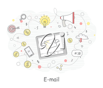 E-mail. Video marketing. Approaches, methods and measures to promote products and services based on video. Video marketing business flat. Online video, internet technology and media social marketing