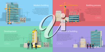 Modern building. Development. Building process. Completion of building. Stages of house building in flat style. Construction of residential houses banners set. Big building area. Vector illustration