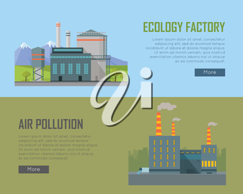 Ecology factory and air pollution plant banners. Eco factory in clean picturesque place and industrial factory in polluted city with smog, environmental problems. Destroying nature. Vector illustratio