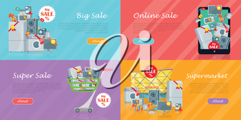 Set of banners with household appliances. Kitchen devices in mobile phone, in cart, supermarket isolated. Big sale concept. E-commerce. Online sale. Electronics. Black friday. Vector in flat style