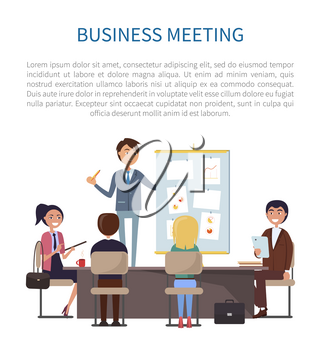Business meeting, conference of boss and employees vector. Man giving presentation, presenting strategy and plan of company activities, chats and data