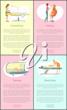 Cosmetician and clients face treatment vector. Posters set with text sample and people working with women, tanning in solarium and body wrap procedure