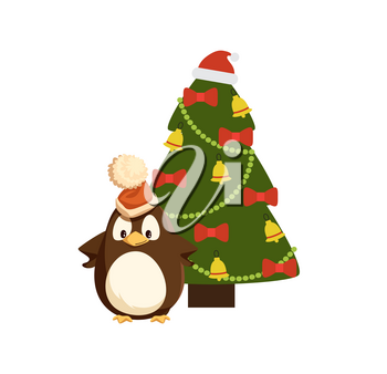 Penguin in Santa hat near decorated Christmas tree. Bird in headdress, beads and jingle bells, bows on fir or spruce, New Year celebration vector