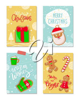 Merry Christmas poster with greetings cookies vector. Gingerbread biscuits in shape of mitten, cup with beverage, Santa Claus, present male and female
