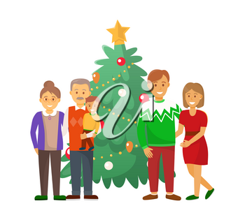 Pine tree and family Christmas holiday celebration vector. Mother and father, couple with grandparents holding grandchild on hands people at home