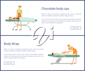 Body chocolate spa and wrap of legs, women lying on table and relaxing. Procedures done by experts in cosmetology in beauty salon, vector web posters