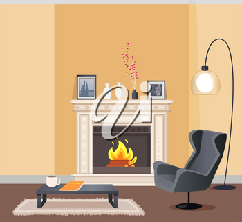 Room in corporeal color of wallpaper with lump. Coffee table with cup and notebook and armchair, burning fireplace decorated with vase and pictures vector