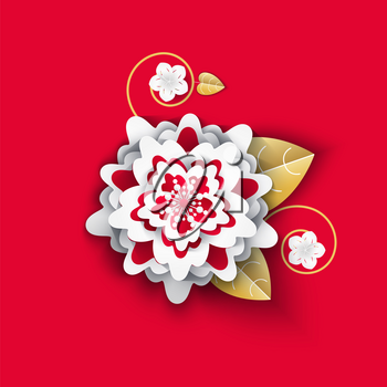 Origami flower with petals and leaves isolated icon vector. Chinese New Year decoration, culture of celebration flourishing and blooming of flora