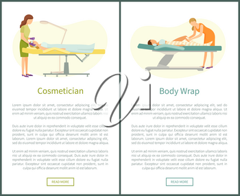 Cosmetician facial cosmetic procedures and detox body wrap web page with text. Woman cosmetologist working with clients face, beauty prof wrapping leg