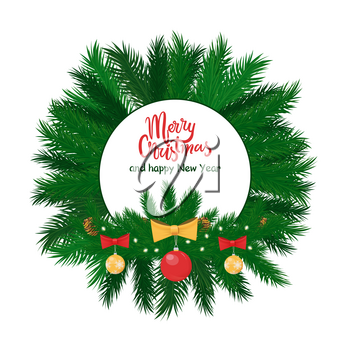 Merry Christmas round label green spruce branches and hanging red and yellow balls decorated by bow. Evergreen fir tree with toys isolated vector
