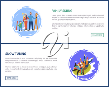 Family tubing and skiing, skiers with equipment vector. Poster with text sample splashing snow, people on tube, father and mother with children web