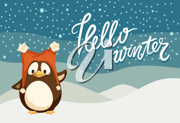 Hello winter Christmas holiday celebration, penguin with smooth feathers wings vector. Animal wearing hat, snowing cold weather character from pole
