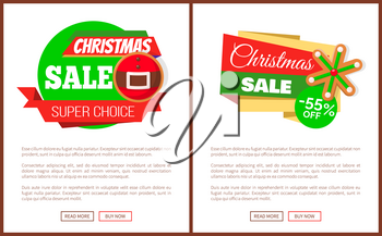 Christmas sale super choice price tag with closeup of Santa belt and snowflake, vector label. Web poster template of discount emblem, 55 percent off