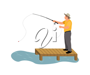 Man fishing on wooden masonry colorful banner, vector illustration of abstract water pond and adult person with fishing-rod isolated on white backdrop