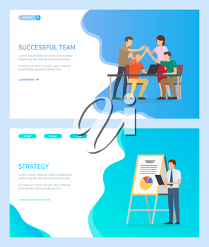 Successful team vector, people at work dealing with working tasks, office workers, strategy of businessman showing info on whiteboard infocharts. Website or webpage template, landing page flat style