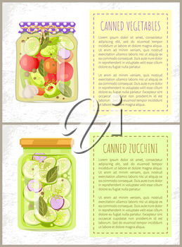 Canned pickled vegetable mix and zucchini in glass jars vector illustration. Squash and tomatoes, onion and cucumber with dill and garlic seasoning posters