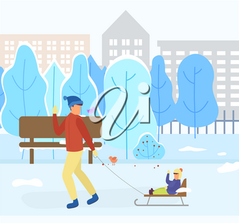 Father and son sitting on sleds, winter landscape with buildings and trees covered with snow. Town in wintry season. Sledding kid and dad pulling sleigh. Cityscape with skyscrapers. Vector in flat