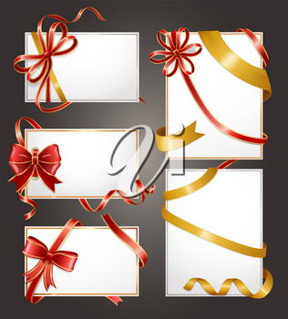 Blank gift cards frames with bow and ribbon isolated icons. Birthday present, shopping offer, holiday voucher, certificate for buying goods template. Fashion shop coupons vector illustration