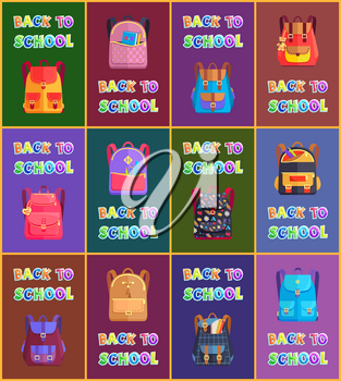Back to school bags of pupils. Schooling with rucksacks having pockets and patterns. Closed backpacks of children and colorful text posters set vector