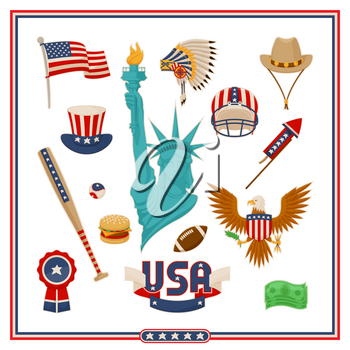 USA country symbols isolated vector illustrations set. Liberty statue, baseball equipment national flag, creative hats, noble eagle and fast food.