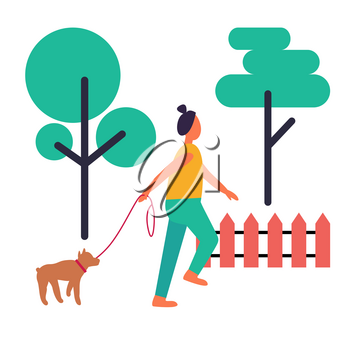 Adult woman walking her little dog on leash isolated vector illustration. Collection of icons of lush green trees and wooden fence on white background