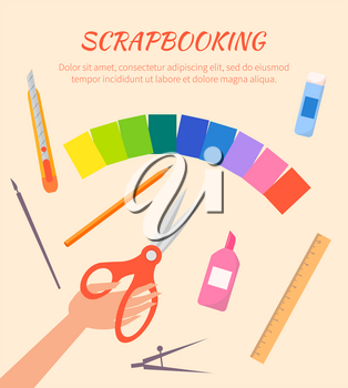 Scrapbooking vector poster with red scissors, metal compasses, olored paper, orange wooden pencil, stationery knife, ruler, glue and brushes on beige background.