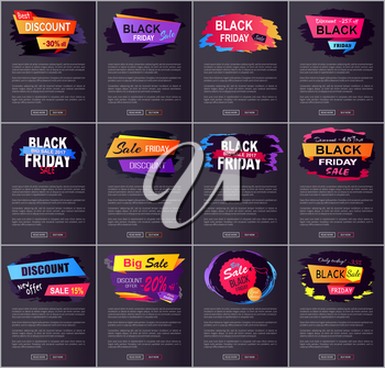 Best discount offer -25 off set of promo pages with decorated headlines, text sample and buttons on vector illustrations dedicated to Black Friday