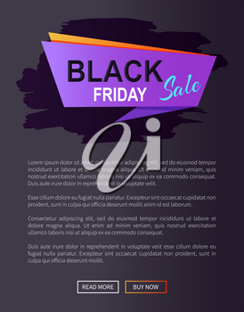 Black friday sale promo web online poster with advertising information about discounts on purple rectangle with orange backdrop vector isolated