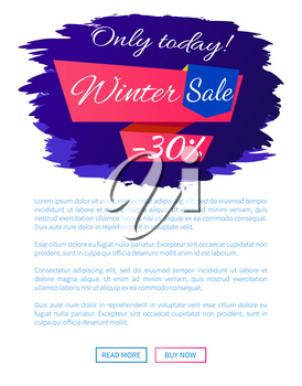 Only today winter sale - 30 off promo web poster on blue brush strokes vector illustration isolated with place for text. Advertisement xmas label design