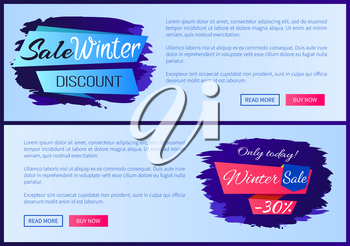 Sale winter discount inscription on blue ribbon only today - 30 off vector illustration internet web pages design with place for text, online shopping