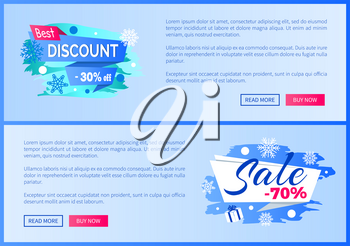Best discount -30 off winter 2017 final sale 70 label with snowballs and snowflakes on abstract blue background seasonal vector web posters set