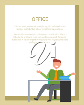 Office worker sitting on chair in front of table with few books on it. Vector of male on his workplace isolated on white in frame for text