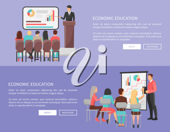Economic education set of web posters with teacher near blackboard with charts pointing on diagrams, students sitting at chairs around, vector