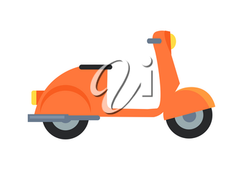 Icon of orange motor scooter with black seat and yellow headlamp in front. Vector illustration of moped isolated on white background