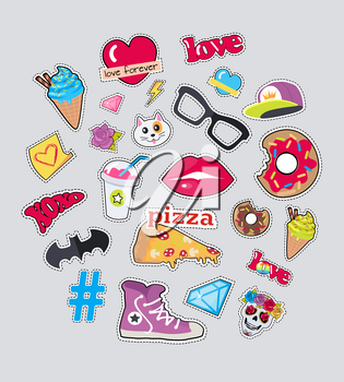 Set of stickers isolated. Icons for teenager age. Food, sweets, batman symbol, cap, diamonds, glasses, cat s muzzle, braincase in flat cut-out illustration design. For postcard, ads, posters