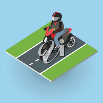 Motor bike on the road. Top view on motorized bicycle. Flat 3d isometric high quality city moped design. Motorcycle or autobike dirtbike . Part of series of city isometric. Vector illustration