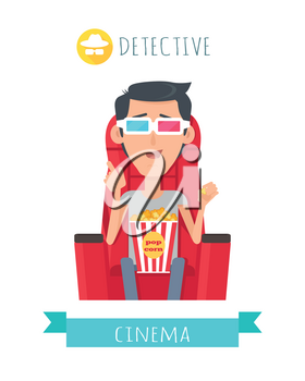 Detective cinema. Man in cinema seat entertainment and fun concept. Happy c boy with 3d glasses watching movie. Cheerful boy character spend leisure watching film in flat style. Vector Illustration