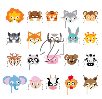Collection of different animal masks on face. Mask of lion, bear, tiger, rabbit, monkey, cat, fox, owl, hare, giraffe, deer, panda, pig dog zebra elephant sheep cow squirrel Flat desing Vector