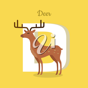 Animal alphabet vector concept. Flat style. Zoo ABC with wild animal. Fallow-deer standing on yellow background, letter D behind. Educational glossary. For children s books, textbooks illustrating