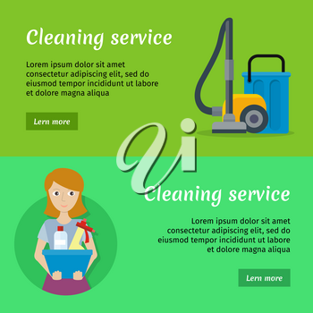 Set of cleaning service banners with cleaning equipment. Woman holds blue basin with cleaning products. House cleaning service, professional office cleaning, home cleaning. Horizontal website template