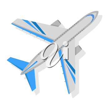 Airplane on white background. Isolated vector illustration. Air transport, travel, flight. Graphic aircraft icon style design. Aviation concept sphere. For advertisement banner, website picture