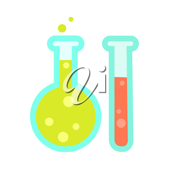 Chemical test tube icons isolated on white. Laboratory equipment for chemistry, biology, microbiology science. Flask sign symbol for science experiment. Glassware or beaker. Education concept. Vector