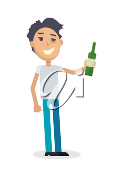 Man with a bottle of wine isolated on white. Young man toast the success. Drunk boy with alcohol. Alcohol addicted person with a bottle of beer. Alcoholism. Vector illustration in the flat style.