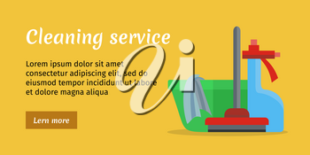 Orange cleaning service banner with green basin, mop and duster. House cleaning service, professional office cleaning, home cleaning, domestic cleaning service illustration in flat. Website template