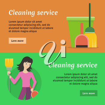 Set of cleaning service web banners. Flat style. House cleaning vector concepts with woman, broom and bucket. Illustration with play button for housekeeping online services, sites, video, animation