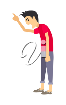 Angry man icon. Aggressive gay screaming and gesturing flat vector illustration isolated on white background. Rowdy man cartoon character. Negative emotions, conflict and quarrel concept