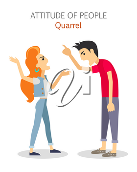 Attitude of people. Quarrel. Choleric type of human temperament vector. Flat Design. Woman and man emotionality arguing. People personality reactions and problems. For psychological tests illustrating