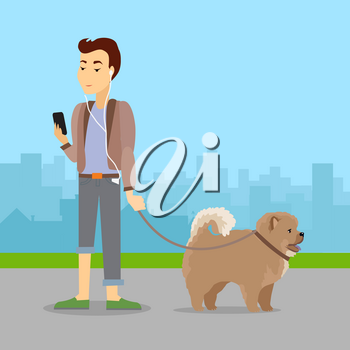 Phlegmatic temperament type boy walking with dog. Relaxed and peaceful male having fun with pet. Thoughtful, calm, patient gentleman with phone in urban city. Absent minded guy. Vector in flat style